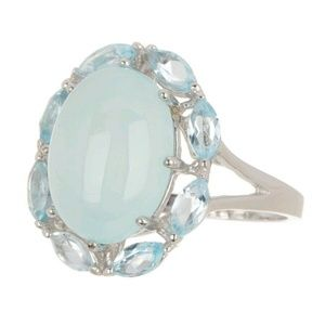 Savvy Cie Sterling Silver Ring 8 Blue Chalcedony